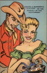 Curt Teich Cowboy & Cowgirl Pretty Blond Cooking Eggs Salt & Pepper Linen PC