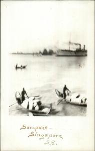 Sampans Boats Singapore c1910 Real Photo Postcard