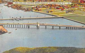 Somers Point New Jersey Memorial Bridge Birds Eye View Vintage Postcard J2531363