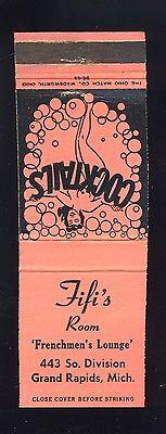 Grand Rapids, Michigan/MI Matchcover/Matchbook, Fifi's Ro...