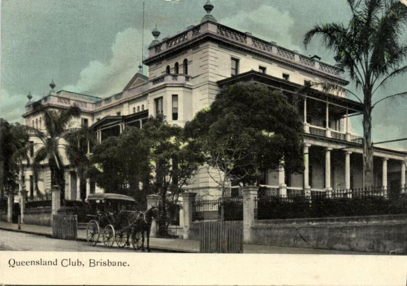 australia, BRISBANE, Queensland Club, Horse Cart (1915) Postcard