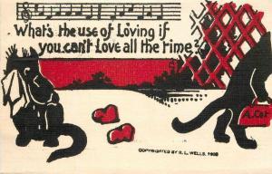 Arts Crafts Black Cat Valentine C-1910  Hearts Love Artist impression 3171