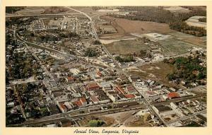 Emporia Virginia~Aerial View Fields, Homes, Downtown 1963