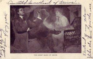PRE-1907 THE SWEET MAGIC OF SMOKE 1905 CPYRT. 1903 LIFE PUB. CO. SMOKE AS WOMAN