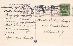 Newark Airport, Newark, New Jersey, Early Postcard, Used in 1936