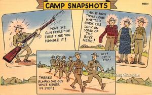 Military Comic Postcard, Old Vintage Antique Post Card Camp Snapshots Writing...