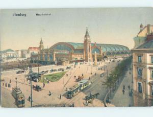 Unused Old Postcard TRAIN DEPOT STATION Hamburg Germany F5411