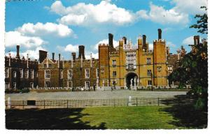 postcard London West Front, HAMPTON COURT PALACE posted 1962