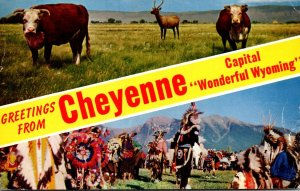 Wyoming Greetings From CHeyenne Showing Indian Scene and Cattle 1962