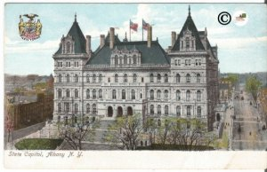 State Capitol of Albany New York Pre 1907 Street Scene Undivided Back Postcard