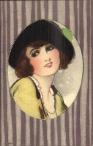 Art Deco THE ALPHA - Beautiful Woman Hat - Purple Border c1915 Postcard