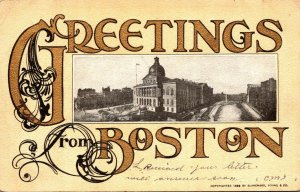 Massachusetts Boston Greetings Showing State House 1906