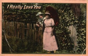 Vintage Postcard 1912 I Really Love You Couple in Love Standing Along Fence