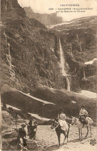 Horss. Sightseers in the Pyrenees Old vintage French postcard