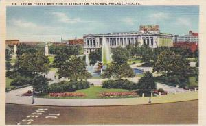 Logan Circle and Public Library on Parkway, Philadelphia, Pennsylvania, 30-40s