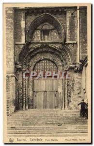 Old Postcard Belgium Tournai cathedral door Mantilla