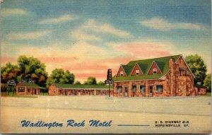 WADLINGTON ROCK MOTEL, HOPKINSVILLE, KY. Linen Postcard Hgwy 41