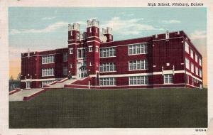 High School, Pittsburg, Kansas, Early  Postcard, Unused