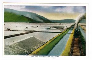 Salt Beds, Great Salt Lake, Utah, unused HHT Postcard;  Train