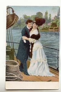Couple on Ship, Fur Stole, Romantic, Fashion