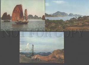 096990 VIETNAM Gulf HA-LONG views set of 8 old colorful PC