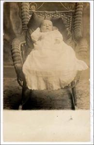 RPPC, Baby in Fancy Wicker Chair