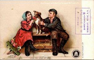 LOVE ME LOVE MY DOG BELL DRUGGIST MEDICAL ADVERTISING J.G. BROWN POSTCARD