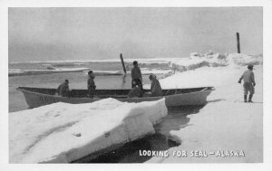 Looking For Seal, Alaska, early postcard, unused