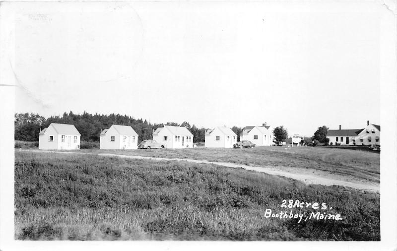 Boothbay Maine~28 Acres~Cottages in Row~Classic Cars in Front~1962 RPPC Postcard