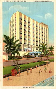 Florida Miami Beach Hotel Netherland On The Ocean Curteich