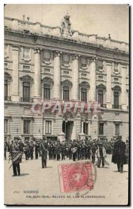 Old Postcard Real Madrid Palacid Relevo De Los Alabarderos