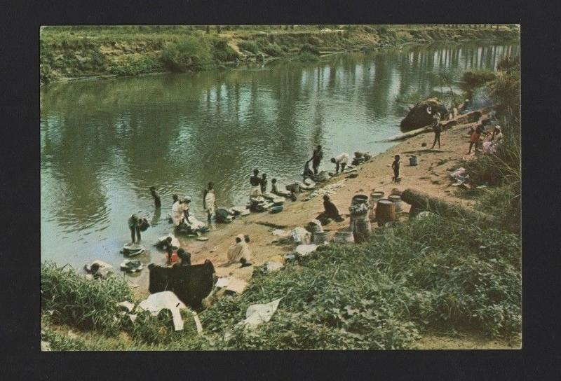ANGOLA 1970 years postcard AFRICA river black woman washerwoman AFRIKA AFRIQUE