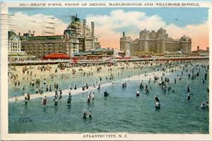 NJ - Atlantic City, Beach Scene, Dennis, Marlborough & Traymore Hotels