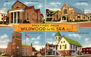 New Jersey Wildwood By The Sea Greetings Showing Churches 1958