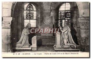 Saint Denis Old Postcard Crypt Statue of Louis XVI and Marie Antoinette