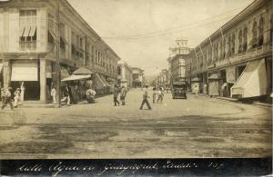 ecuador, GUAYAQUIL, Calle Aguirre, Old Car (1910s) RPPC Postcard