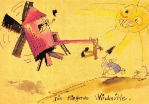 Art Postcard, Die Fliegende Windmuhle Windmill (1914) by Lyonel Feininger 85U