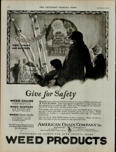 1924 Weed Products Give for Safety Santa Vintage Print Ad 3960