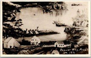 BEAVER BAY, Minnesota RPPC Real Photo Postcard Artist's Lake Scene - Unused