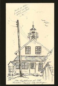 #2 The Old Mission Lighthouse Traverse City Michigan John A Nelson Art Postcard