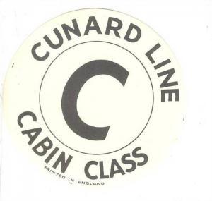 Ocean Liner Sticker : Cunard Line ,  C  Cabin Class , 1930s