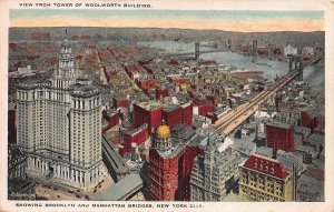 View from Tower of Woolworth Bldg., Manhattan, N.Y.C., Early Postcard, Unused