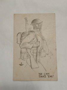 Postcard We Can Take' Em US Army Soldier 1940 Marshall Davis NC Military 1041
