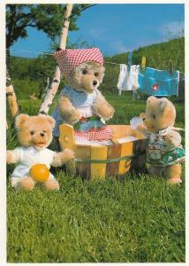 Teddy Bear Bears Hanging Washing On Line RPC Postcard