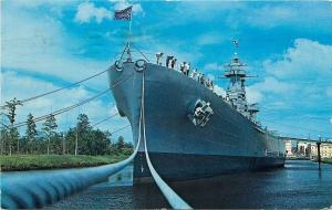 Wilmington~U.S.S North Carolina Battleship Memorial~Hands on Deck~1966 Postcard