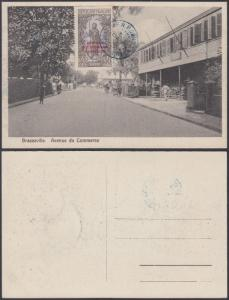 French Equatorial Africa 1930 Used stamp on postcard ( Brazzaville ) , Avenue...