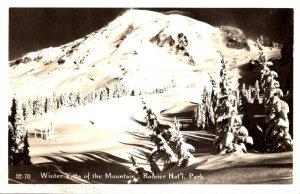 Washington Rainier National Park Winter Vista Of The Mountain Real Photo