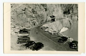Postcard Mountain Tunnel Old Cars Parking Lot RPPC Standard View Card