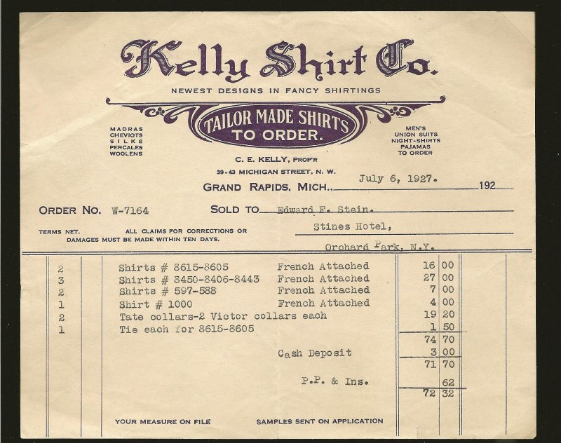 Kelly Shirt Co Grand Rapids Mich 1927 Invoice Used PLEASE READ NOTE