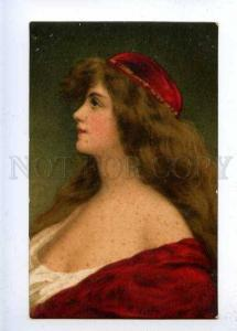 184629 Lady in RED by Angelo ASTI vintage Color LITHO Granberg